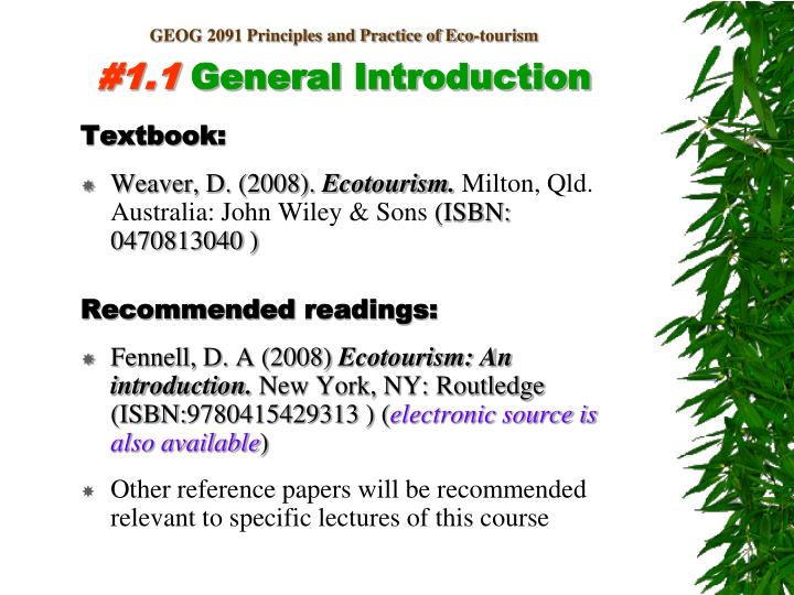 Geog 2091 principles and practice of eco tourism 1 1 general introduction