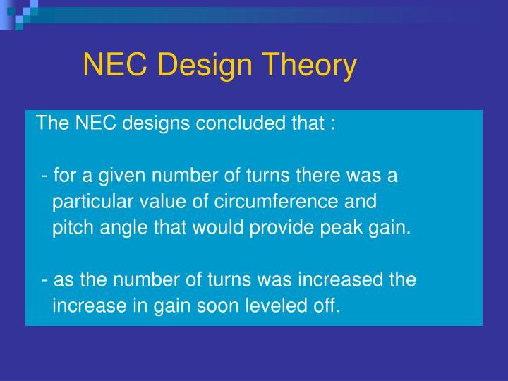 NEC Design Theory