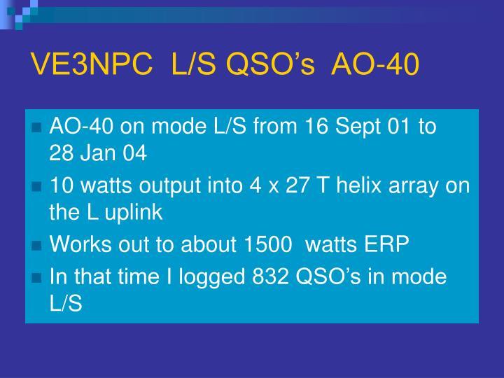 VE3NPC  L/S QSO's  AO-40