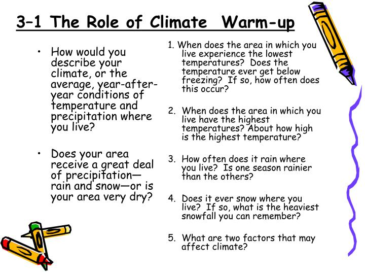 How would you describe your climate, or the average, year-after-year conditions of temperature and precipitation where you live?