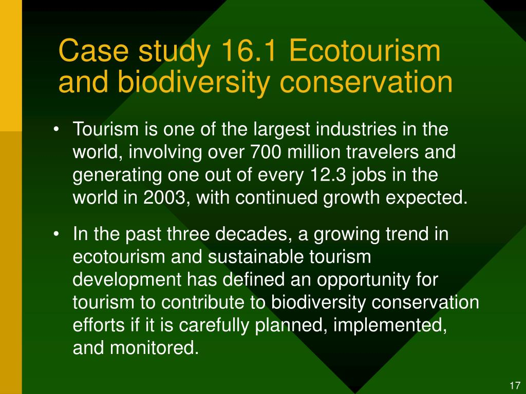 Case study 16.1 Ecotourism and biodiversity conservation