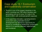 case study 16 1 ecotourism and biodiversity conservation