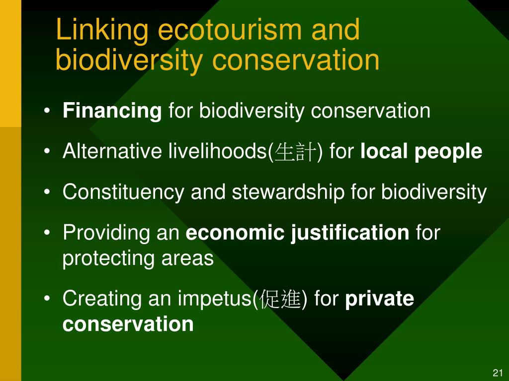 Linking ecotourism and biodiversity conservation