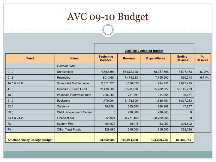 AVC 09-10 Budget