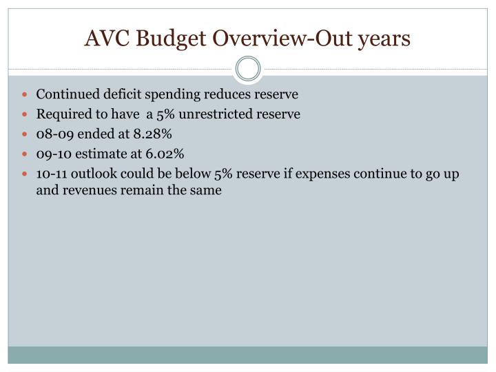 AVC Budget Overview-Out years