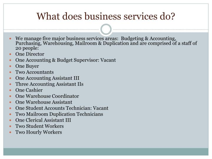 What does business services do?