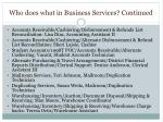 who does what in business services continued