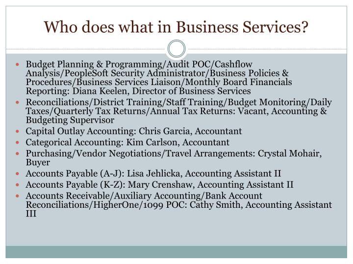 Who does what in Business Services?