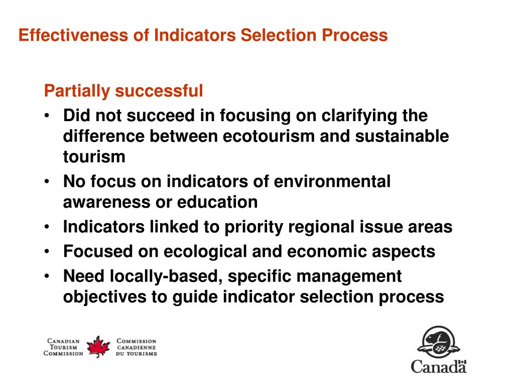 Effectiveness of Indicators Selection Process