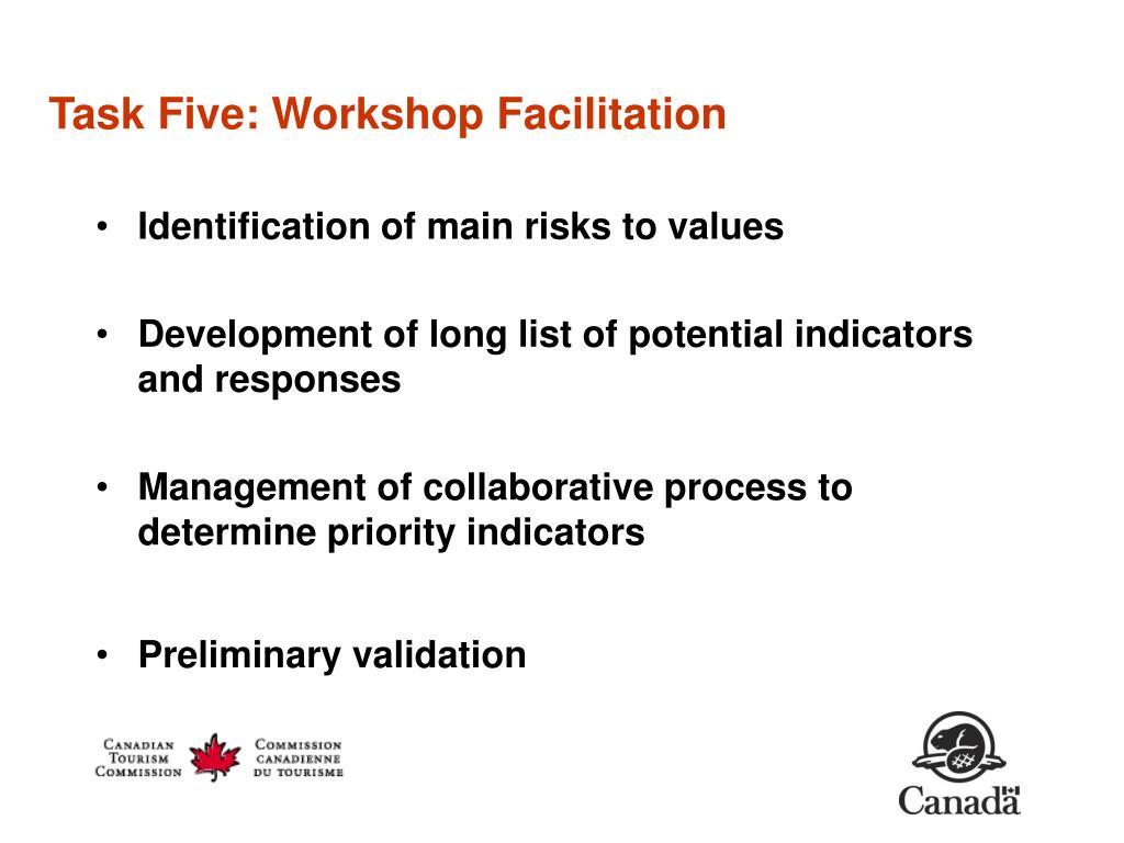 Task Five: Workshop Facilitation