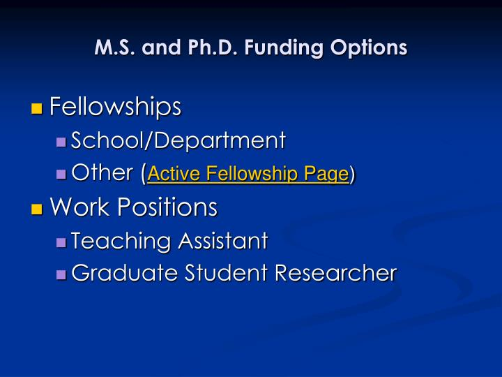 M.S. and Ph.D. Funding Options