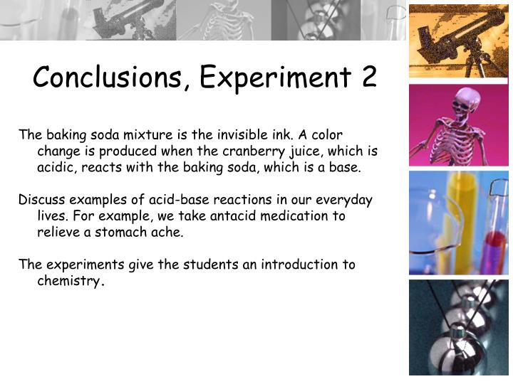 Conclusions, Experiment 2