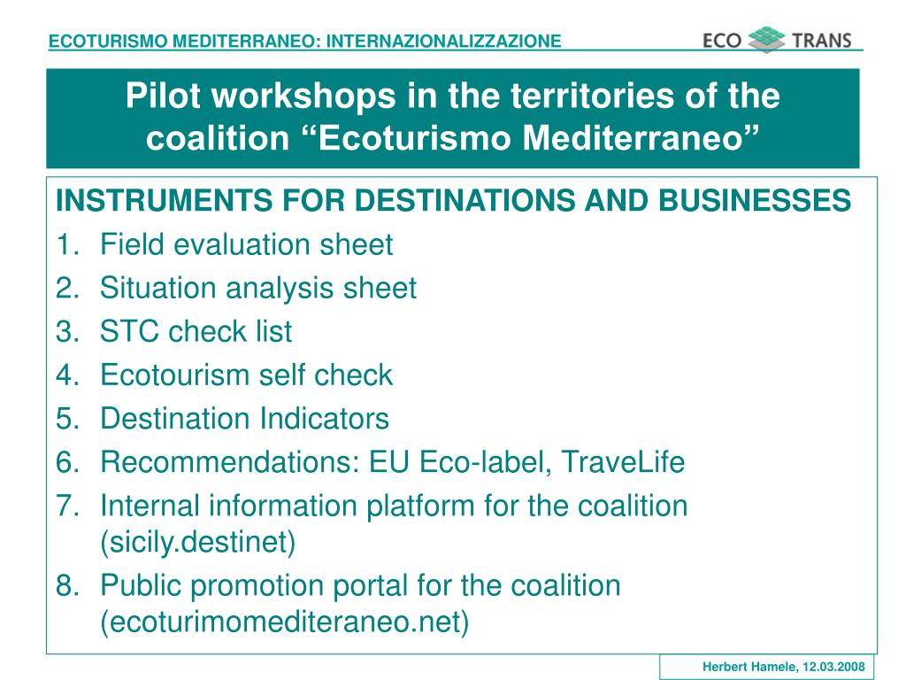 "Pilot workshops in the territories of the coalition ""Ecoturismo Mediterraneo"""