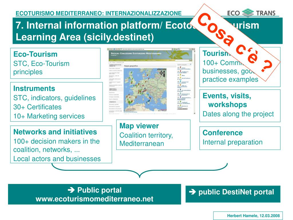7. Internal information platform/ Ecotourism Tourism Learning Area (sicily.destinet)