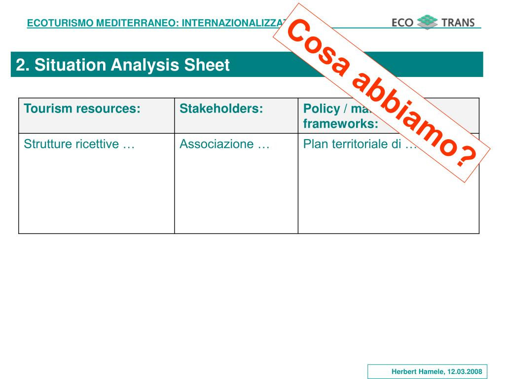 2. Situation Analysis Sheet
