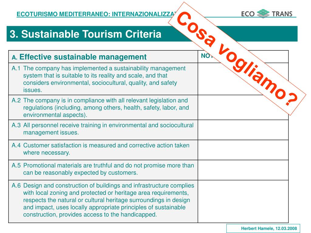 3. Sustainable Tourism Criteria