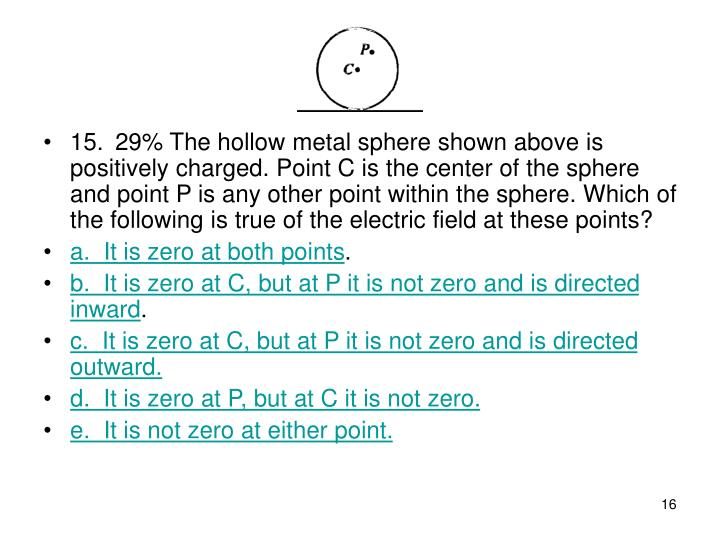 15. 29% The hollow metal sphere shown above is positively charged. Point C is the center of the sphere and point P is any other point within the sphere. Which of the following is true of the electric field at these points?