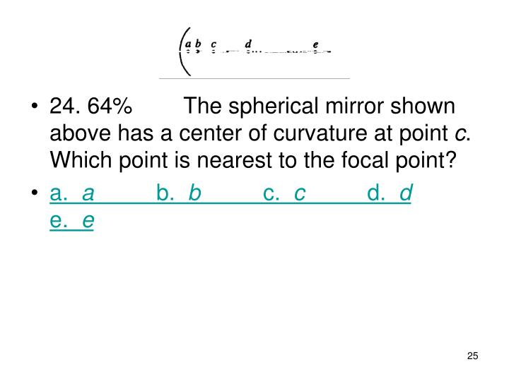 24. 64%The spherical mirror shown above has a center of curvature at point