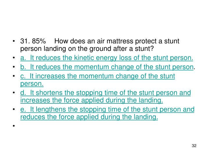 31. 85%How does an air mattress protect a stunt person landing on the ground after a stunt?