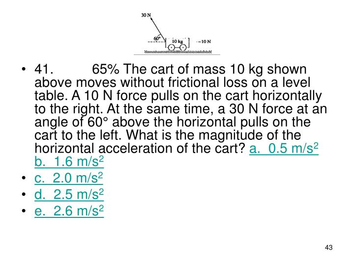 41. 65% The cart of mass 10 kg shown above moves without frictional loss on a level table. A 10 N force pulls on the cart horizontally to the right. At the same time, a 30 N force at an angle of 60° above the horizontal pulls on the cart to the left. What is the magnitude of the horizontal acceleration of the cart?