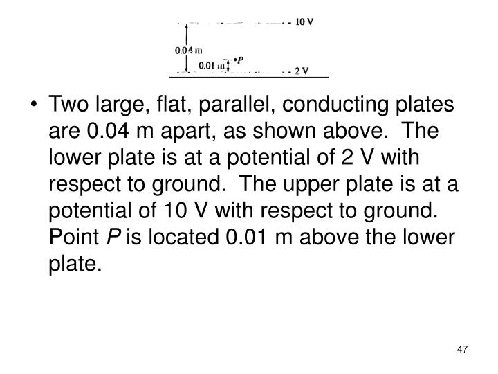 Two large, flat, parallel, conducting plates are 0.04 m apart, as shown above.  The lower plate is at a potential of 2 V with respect to ground.  The upper plate is at a potential of 10 V with respect to ground. Point