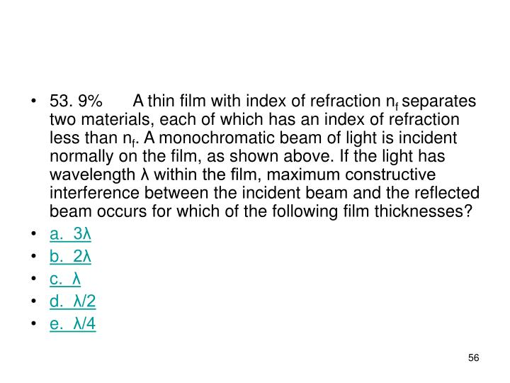 53. 9%A thin film with index of refraction n