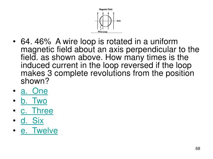 64. 46%A wire loop is rotated in a uniform magnetic field about an axis perpendicular to the field. as shown above. How many times is the induced current in the loop reversed if the loop makes 3 complete revolutions from the position shown?