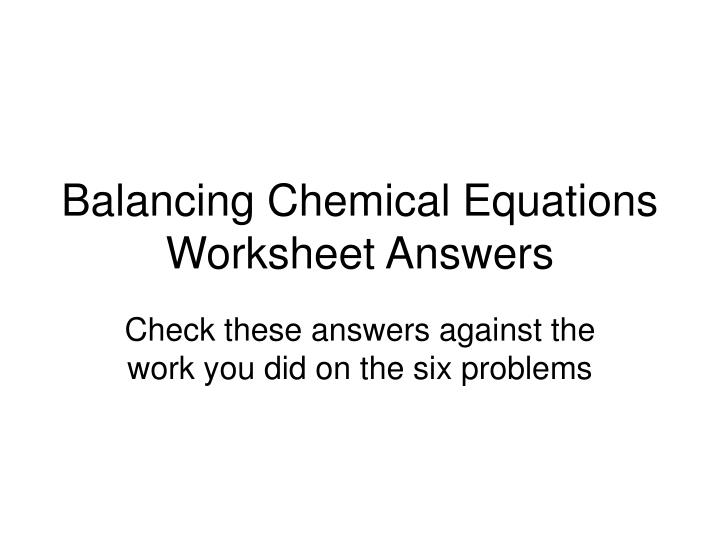 Balancing equations homework – Balancing Math Equations Worksheet