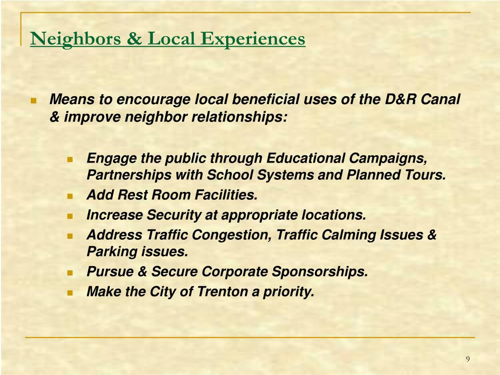 Neighbors & Local Experiences