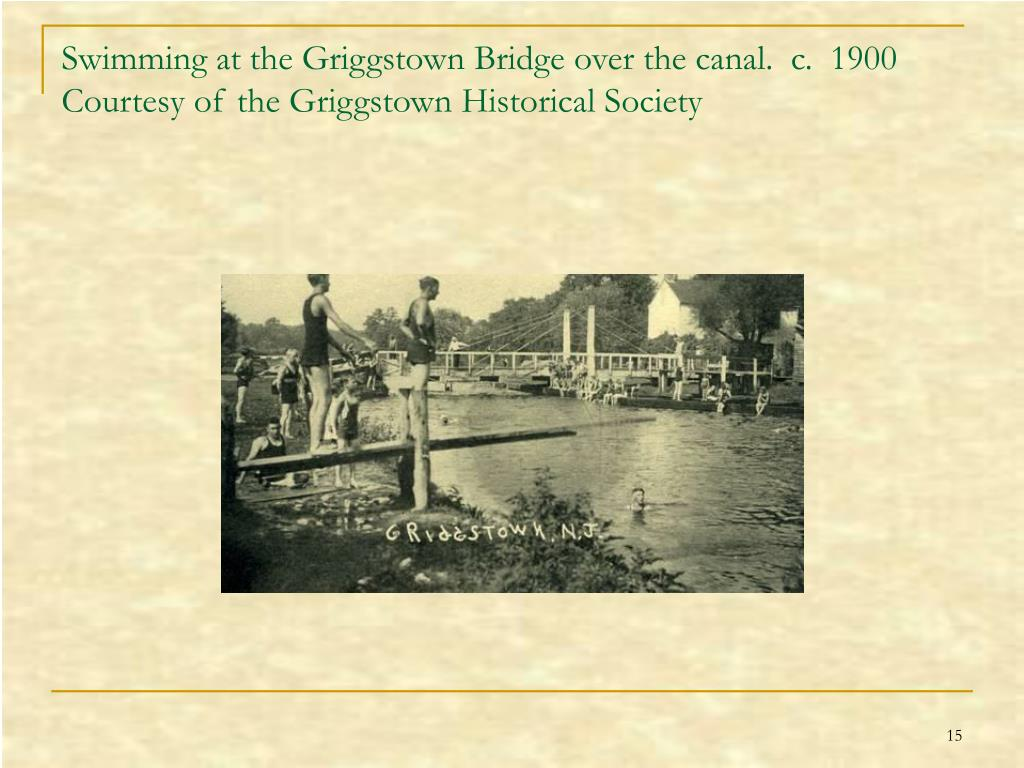 Swimming at the Griggstown Bridge over the canal.  c.  1900