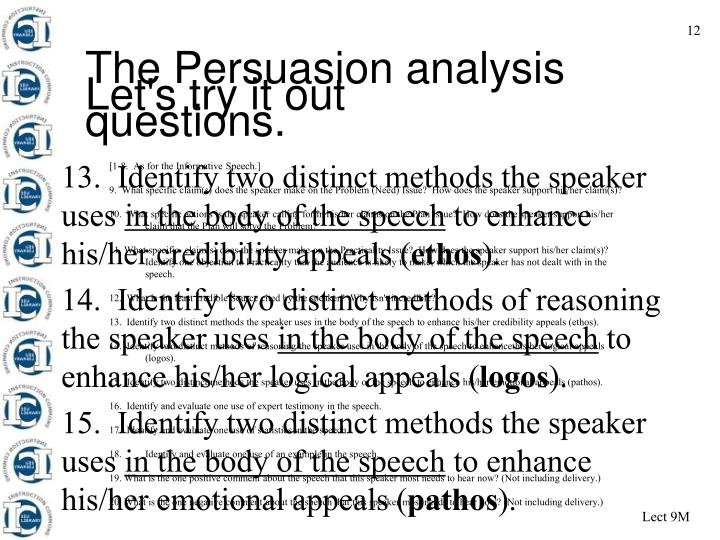 The Persuasion analysis questions.