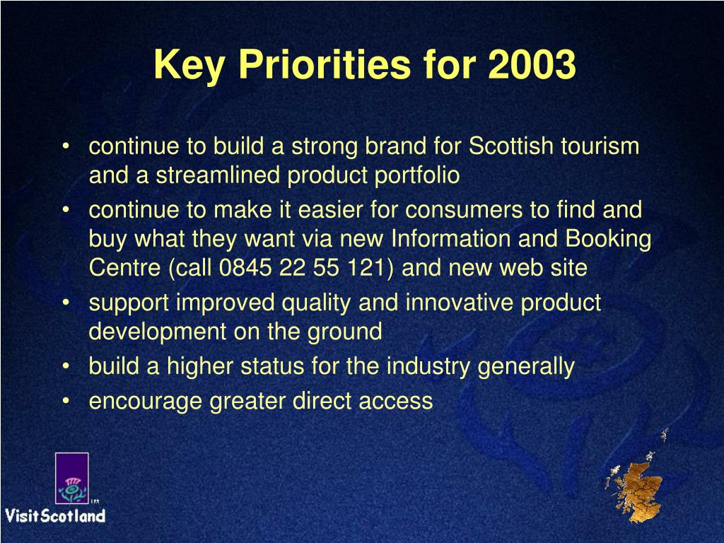 Key Priorities for 2003