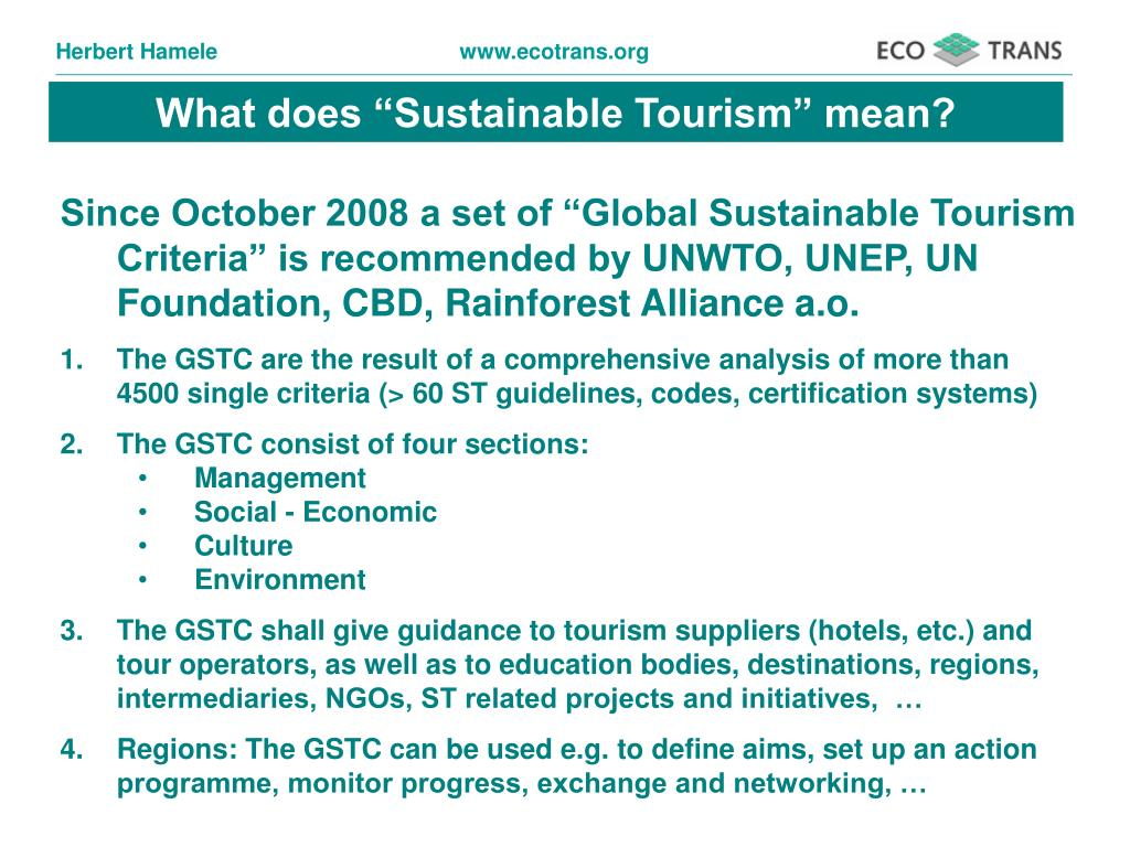 "What does ""Sustainable Tourism"" mean?"