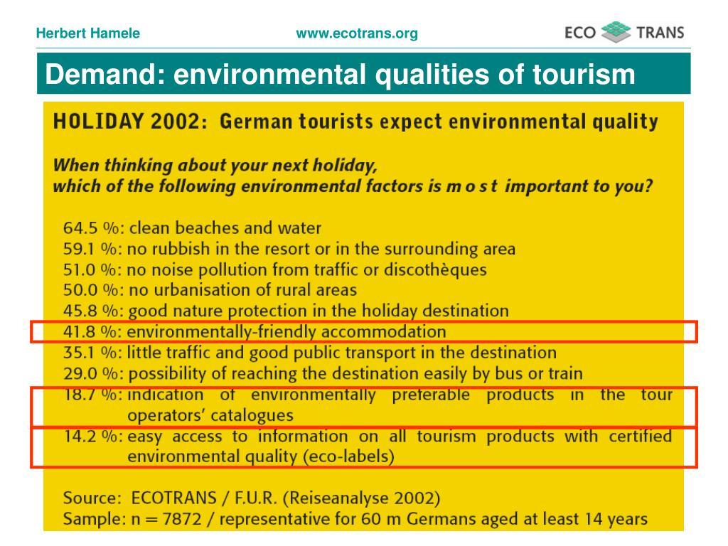 Demand: environmental qualities of tourism