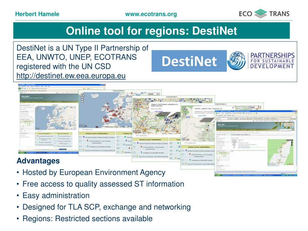 Online tool for regions: DestiNet