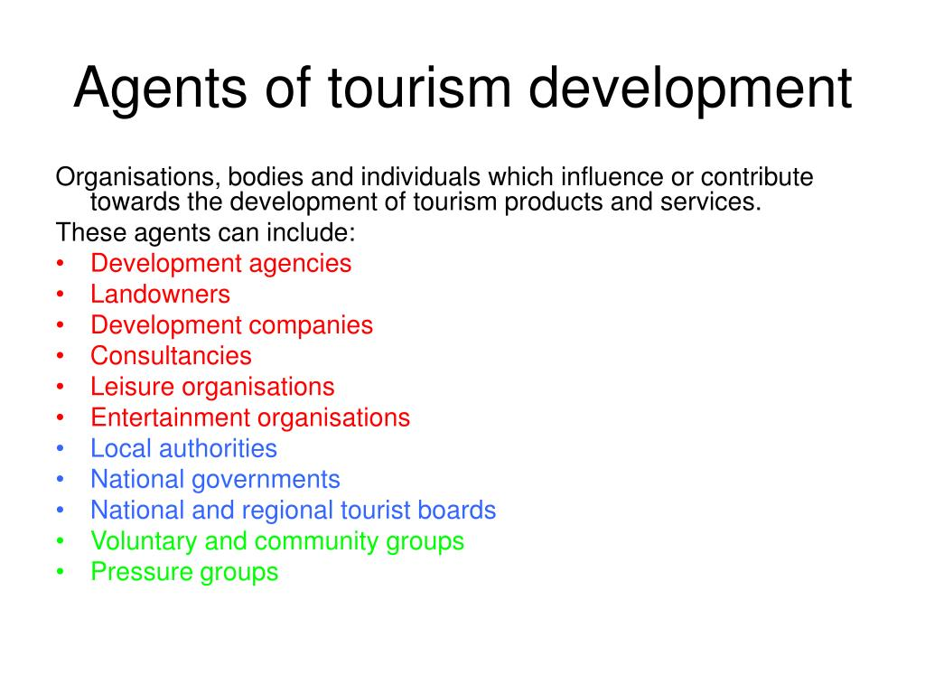 Agents of tourism development