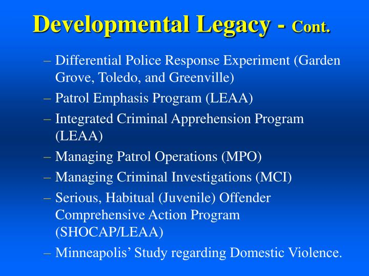 Developmental Legacy -