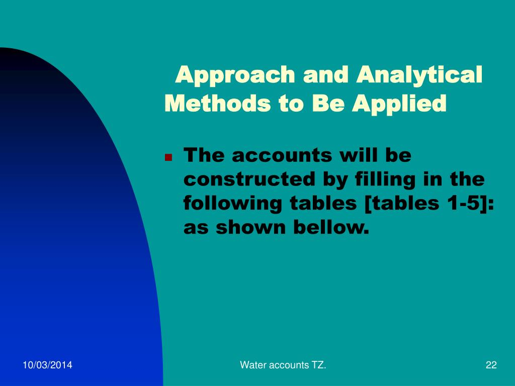 Approach and Analytical Methods to Be Applied