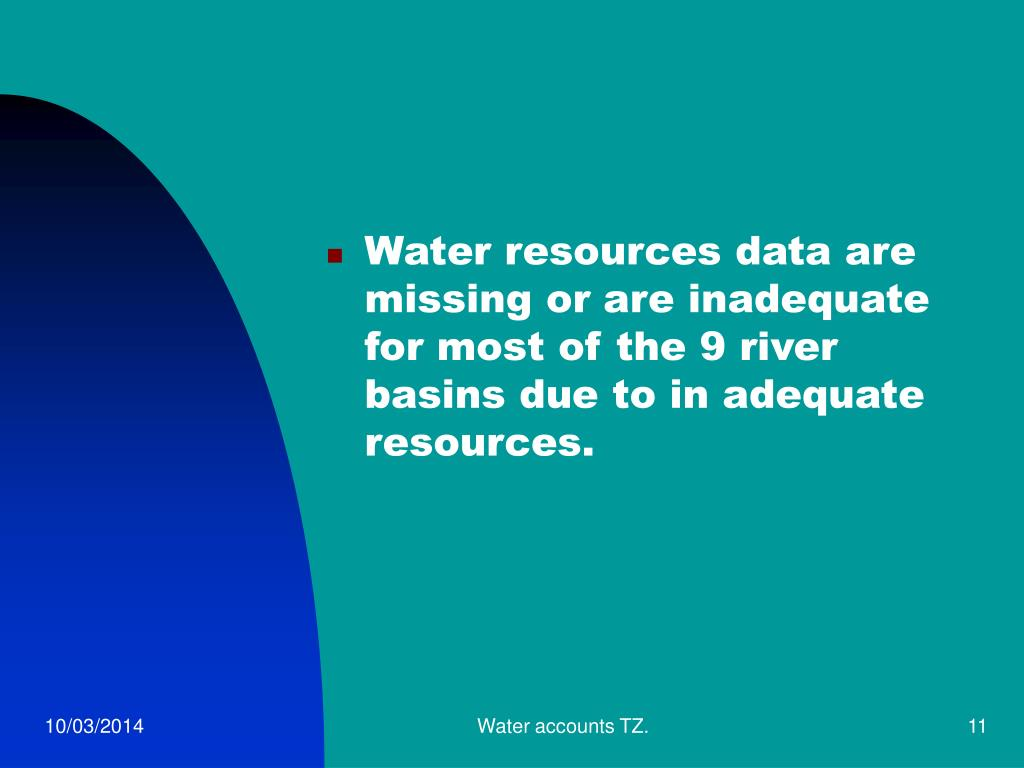 Water resources data are missing or are inadequate for most of the 9 river basins due to in adequate resources.