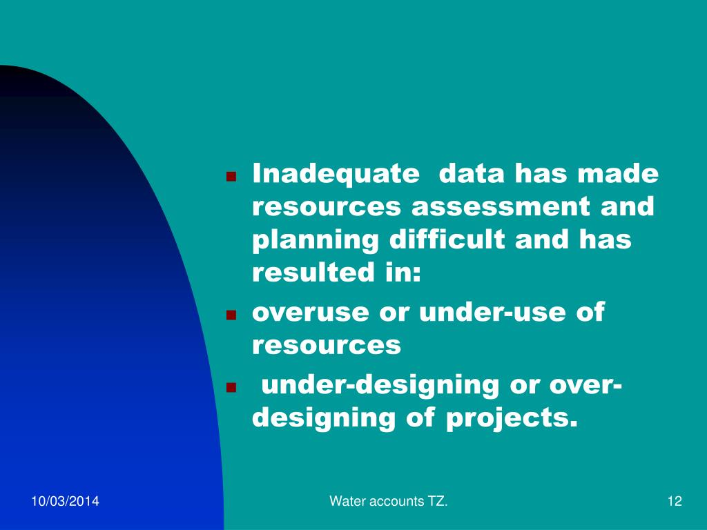 Inadequate  data has made resources assessment and planning difficult and has resulted in: