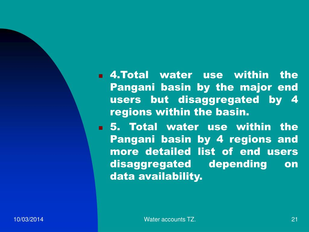 4.Total water use within the Pangani basin by the major end users but disaggregated by 4 regions within the basin.