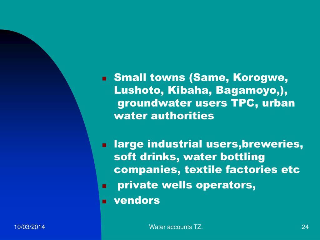 Small towns (Same, Korogwe, Lushoto, Kibaha, Bagamoyo,),