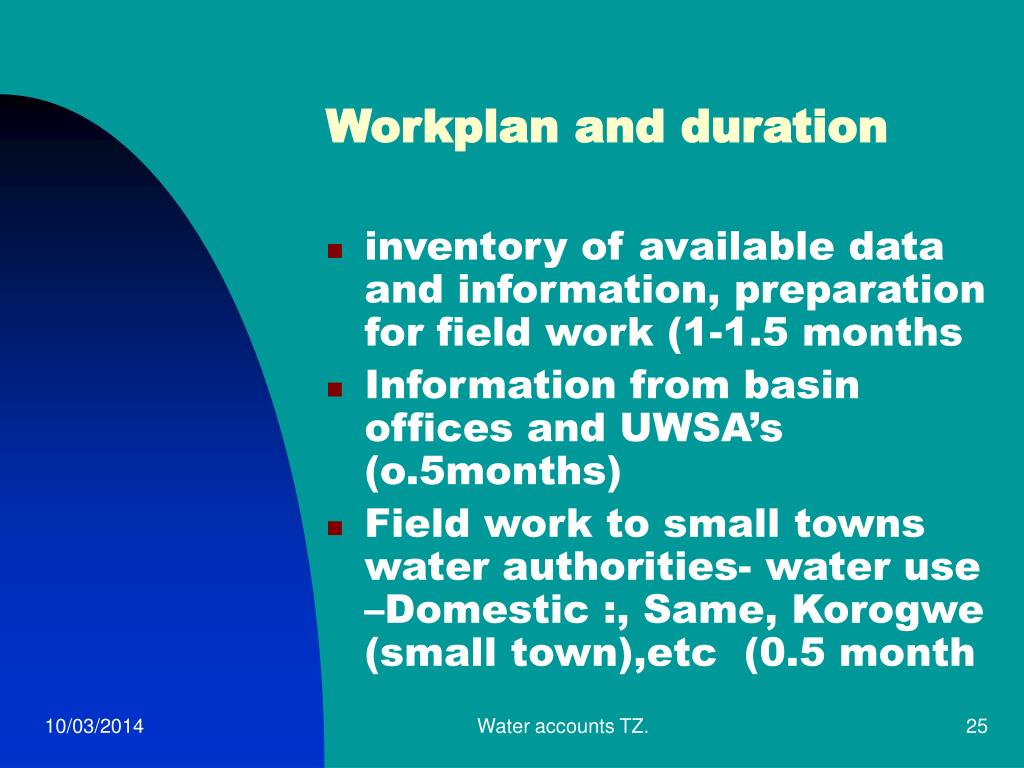 Workplan and duration