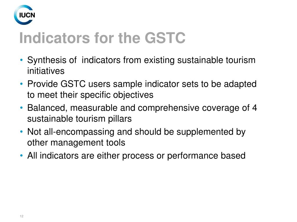 Indicators for the GSTC