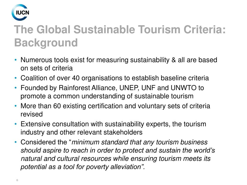 The Global Sustainable Tourism Criteria: Background