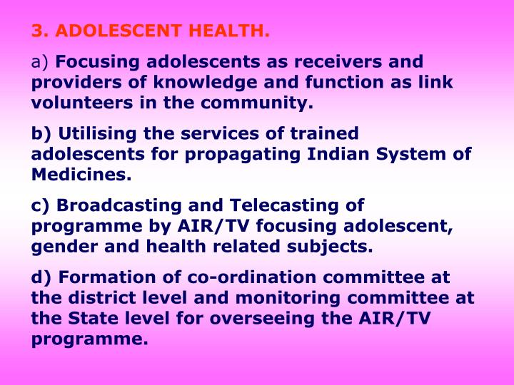 3. ADOLESCENT HEALTH.