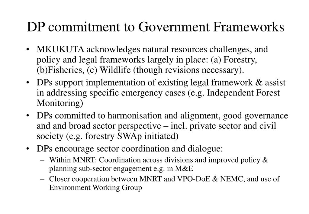 DP commitment to Government Frameworks