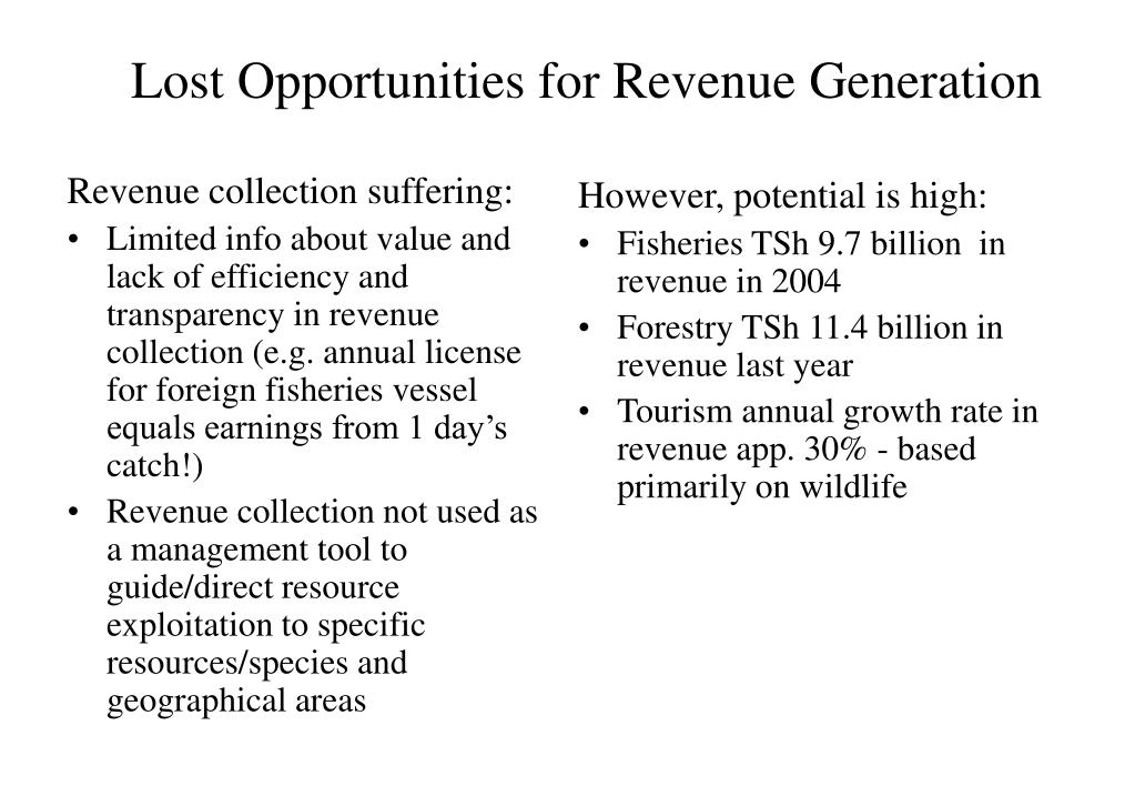 Lost Opportunities for Revenue Generation