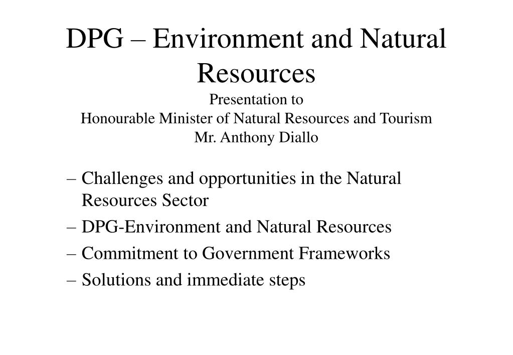 DPG – Environment and Natural Resources