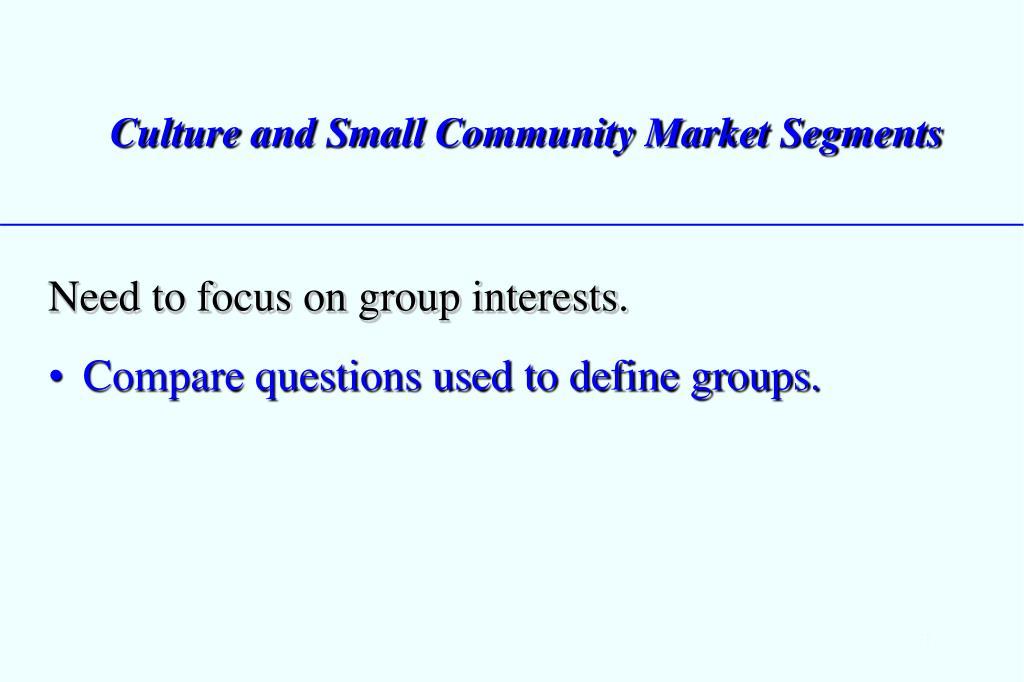 Culture and Small Community Market Segments